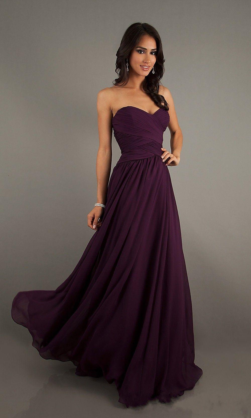 Aline sleeveless floor length sweetheart chiffon grape bridesmaid