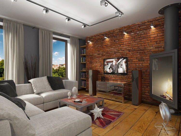 beleuchtung-wohnzimmer-strahler-rote-backsteinwand-eckkamin - beleuchtung für wohnzimmer