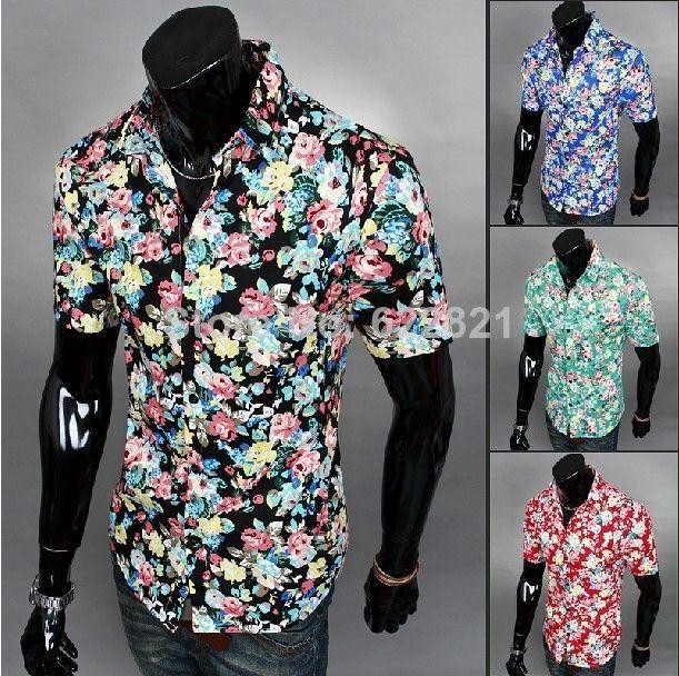 2014 Verão Mens Nova Primavera manga curta camisas Floral Slim Fit Algodão Casual shirt 8colors Tamanho: M ~ XXL Frete Grátis
