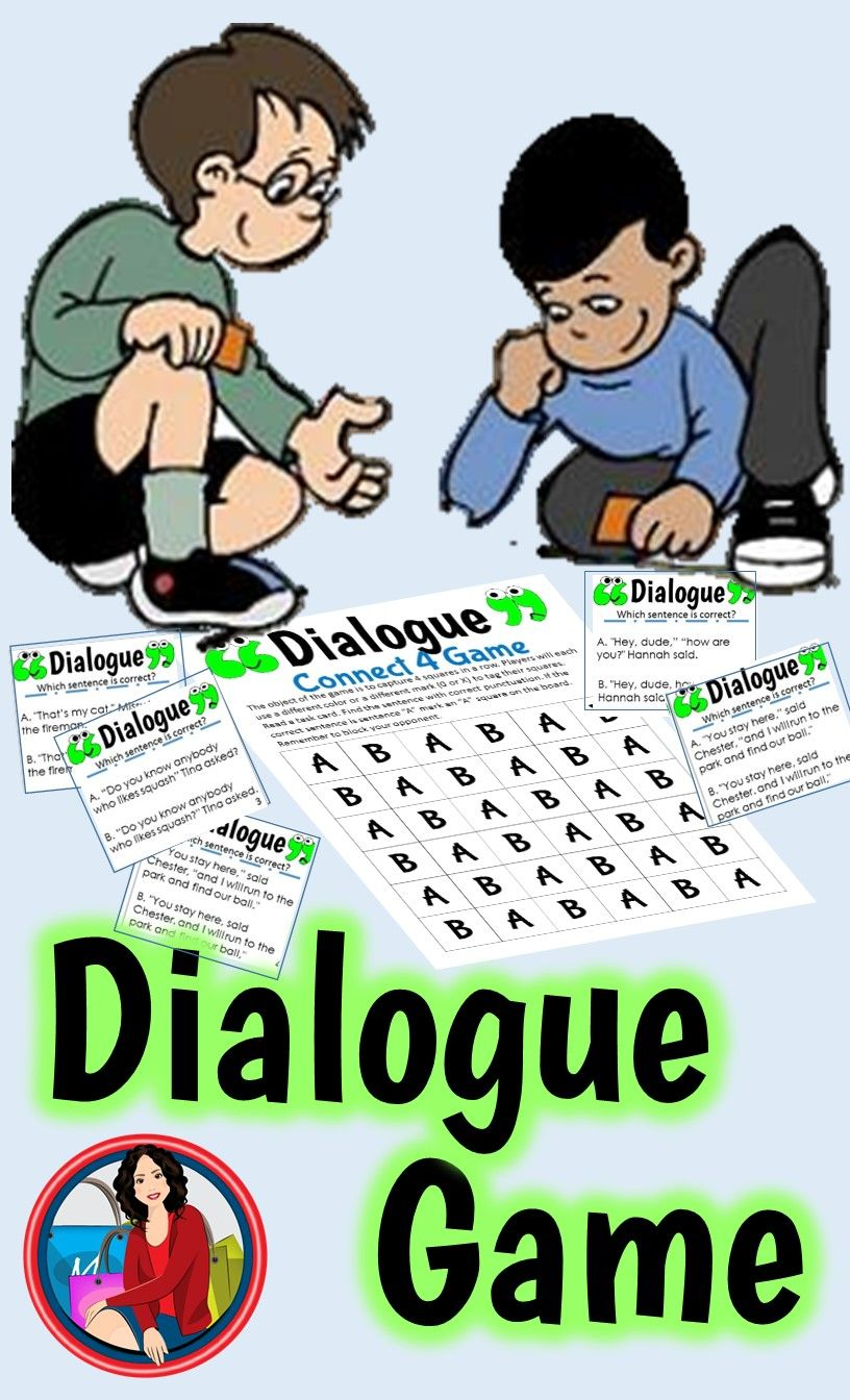 Dialogue: Have fun reviewing the rules for writing Dialogue by playing a game of Connect Four. The handy Anchor Chart organizes the rules in a way that makes sense to the students. 24 Task Cards each have a correct sentence and an incorrect sentence. Students can capture a square on the Connect Four Game Board by identifying the correct sentence.