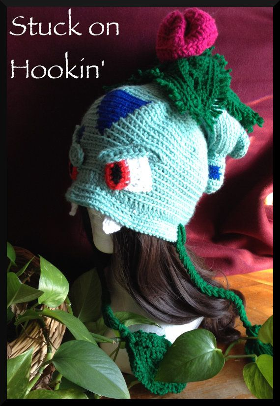 Ivysaur inspired hat. Hand made and crocheted one piece at a time ...