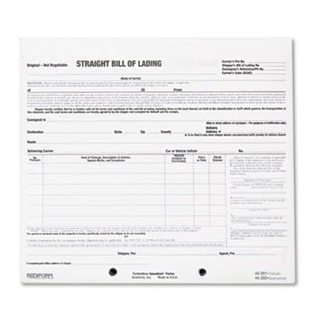 Bill Of Lading Short Form, 8 1\/2 X 7, Three-Part Carbonless, 250 - sample firearm bill of sale