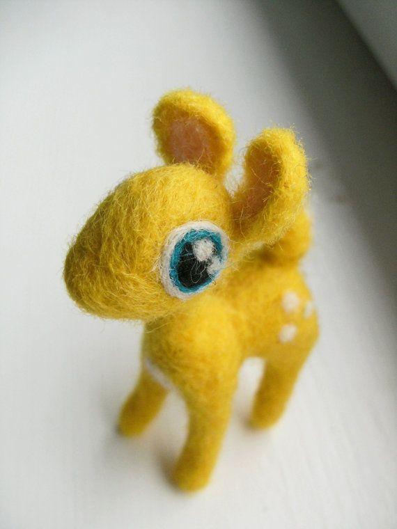 Yellow needle felted deer