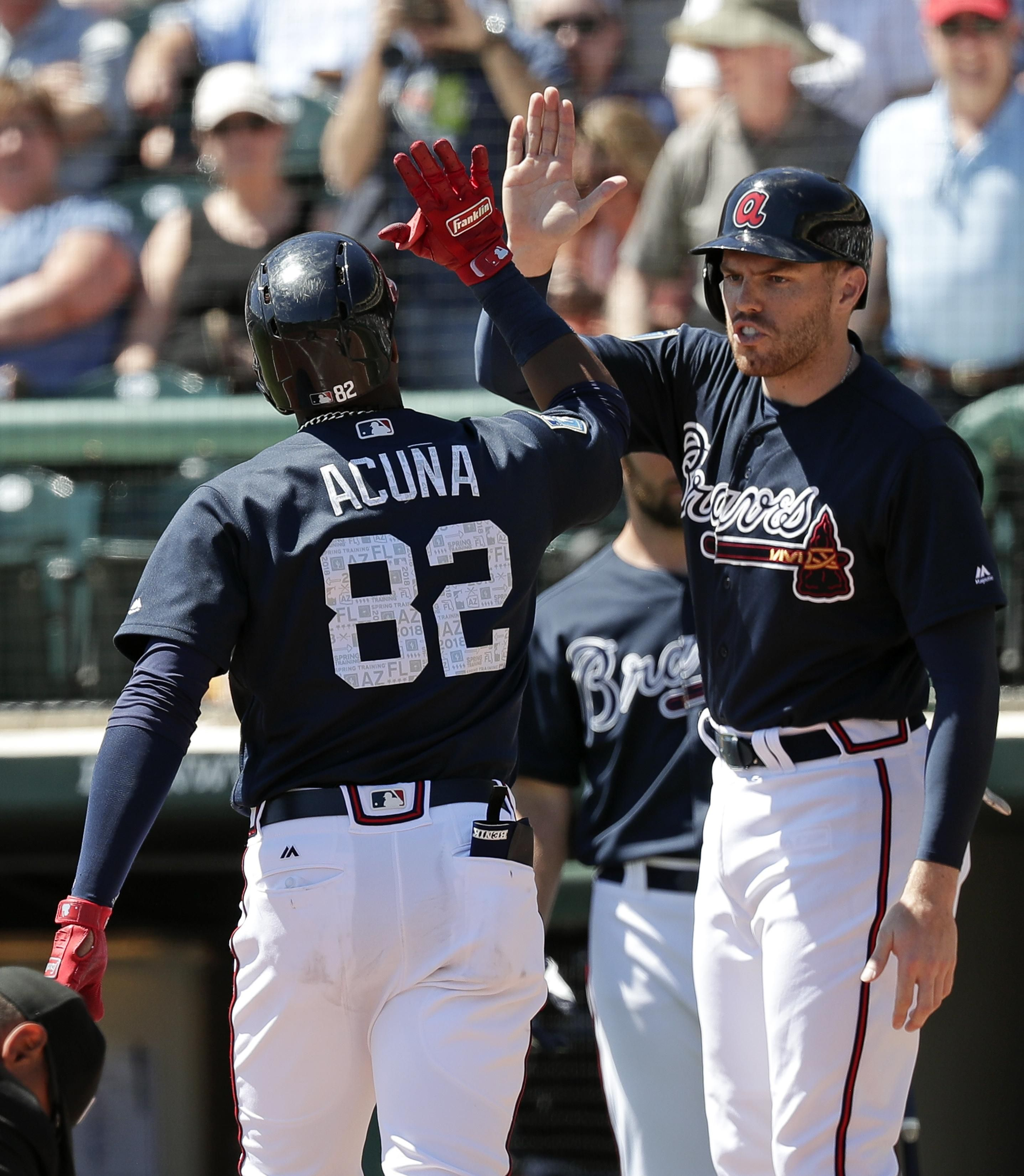 Ronald Acuna Jr 13 Of The Atlanta Braves Hits A Fifth Inning Solo Braves Atlanta Braves Atlanta Braves Baseball