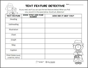 Printable of the Week: Text Features Graphic Organizer (Grades 3-6 ...