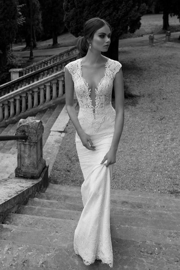 2014 New Berta Lace Sheer Mermaid Wedding Dress Deep V Neck Button ...