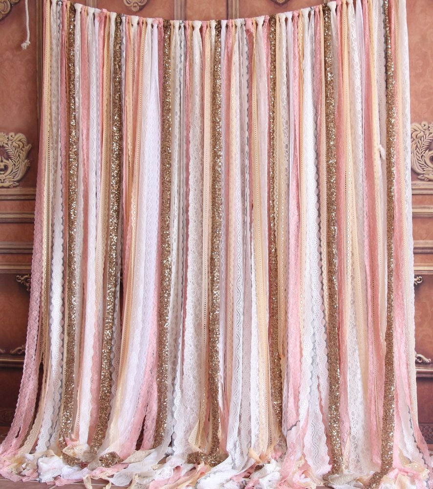 Pink White Sparkle Sequin Photobooth Wedding Stage Baby Shower Party Backdrop
