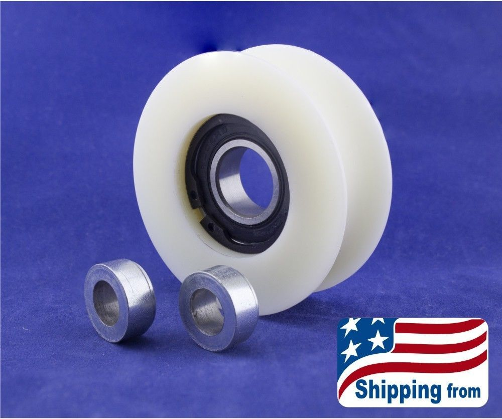 Pin On Nylon Pulley With 2 X 1 2 Inch Bore Spacers Usa