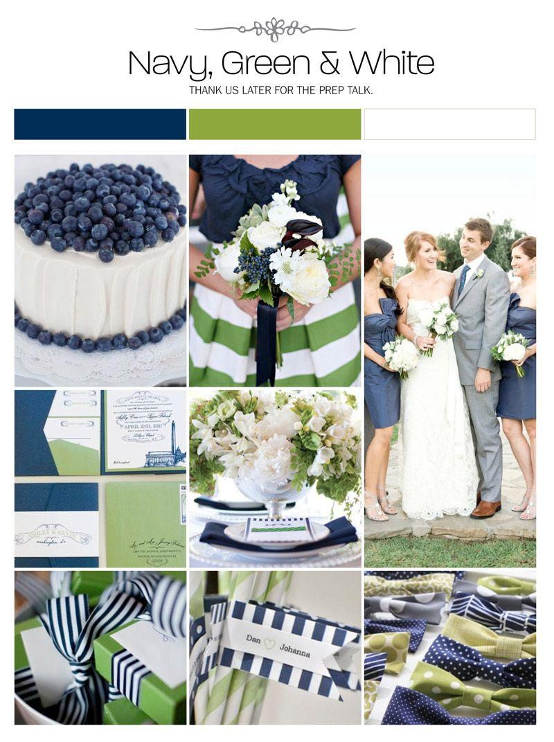 Preppy Wedding Color Scheme: Navy Green