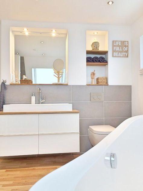 kleines badezimmer natuerlich modern holz grau naturstein - Google