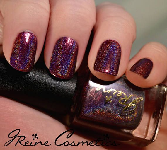Wine Shine Holo Berry Red Holographic Nail Polish
