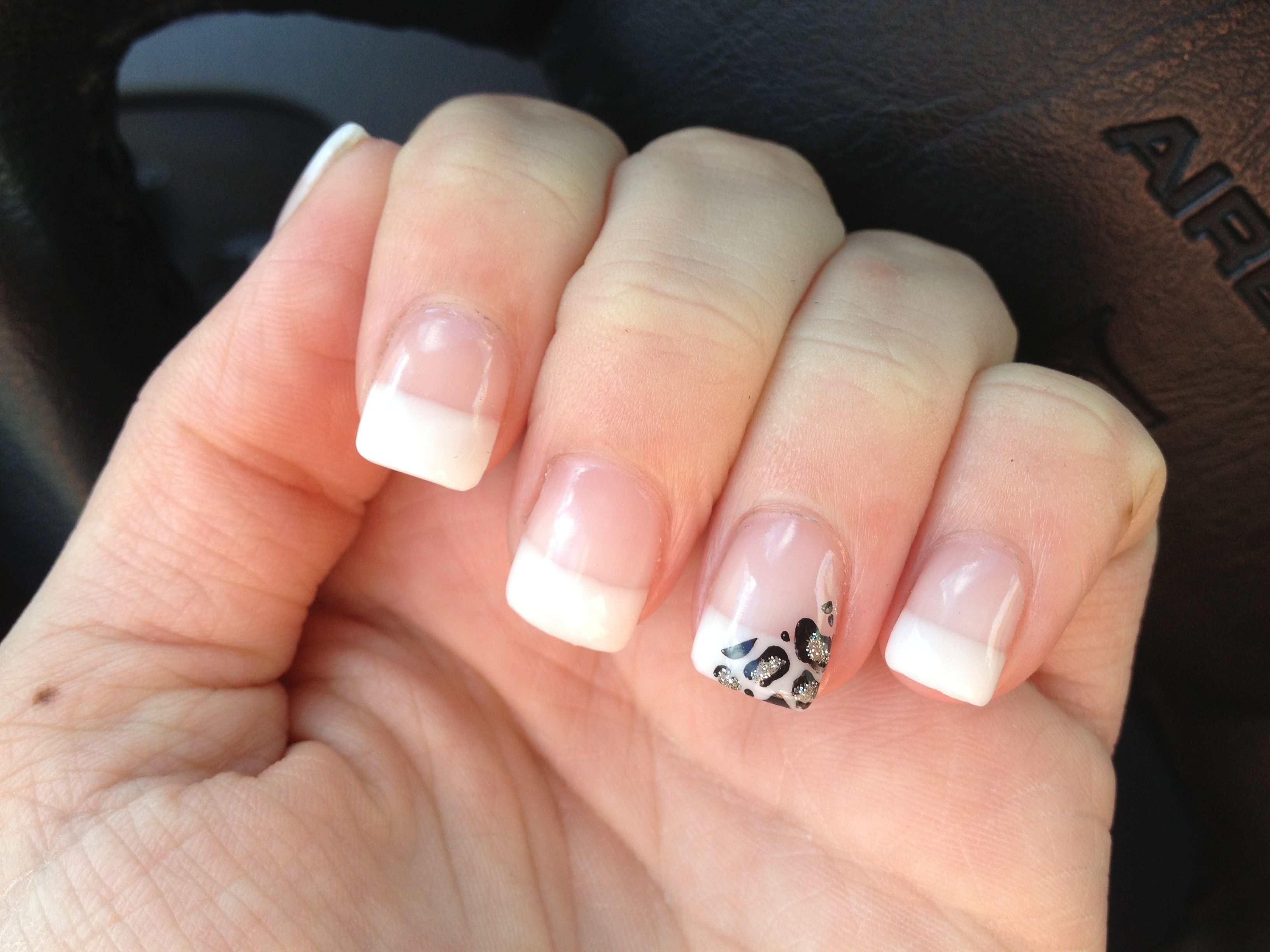 My nails. White tips with leopard | Nails | Pinterest | Fun nails ...