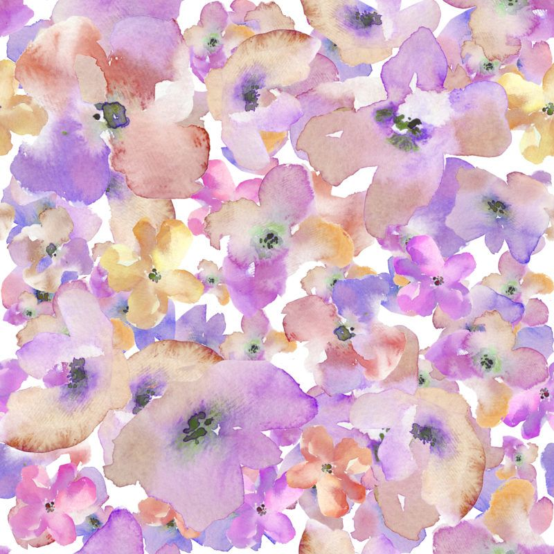 These Pretty Watercolor Floral Patterns Are Pretty In Purple And