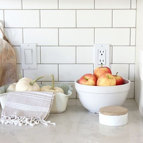 White Matte Subway Tile Backsplash With Pewter Grout