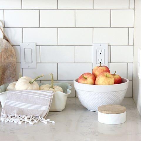 White Matte Subway Tile Backsplash With Pewter Grout