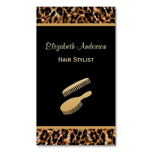 Stylish brush black and gold leopard hair salon business card these elegant luxury brown leopard print hair salon business cards with a girly brush and comb set can be personalized by adding the name of the beautician reheart Image collections