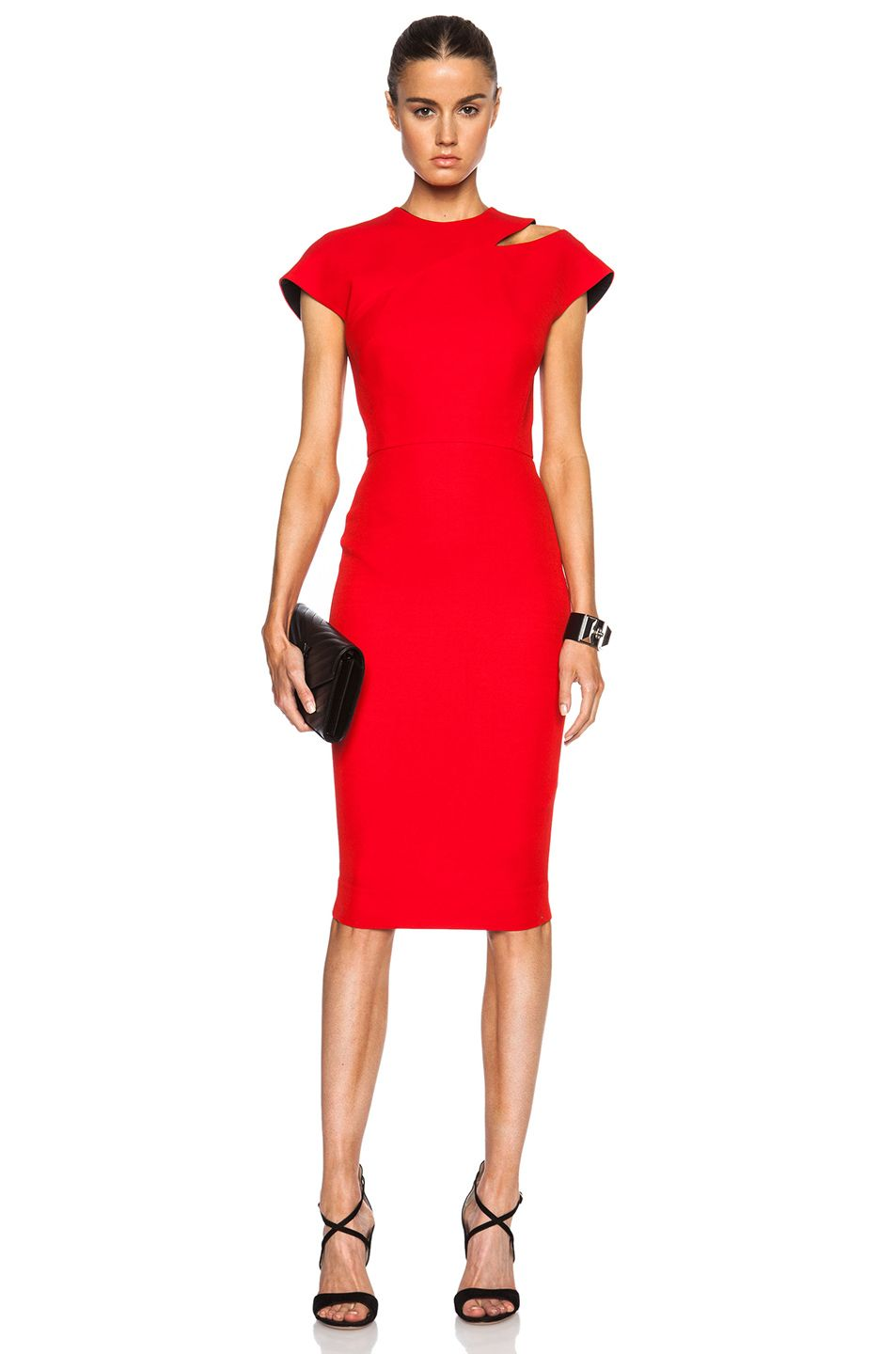 Victoria beckham cap sleeve cut out dress in red the influencers