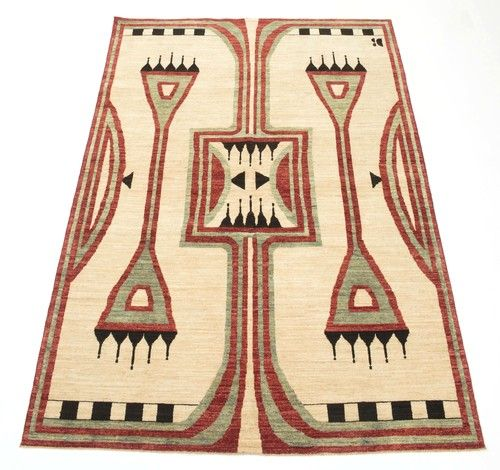 Studio Four NYC Cheyenne Rug - Based on a Native American saddle blanket design, this wool hand knotted rug is handmade by a women's collective in Afghanistan.