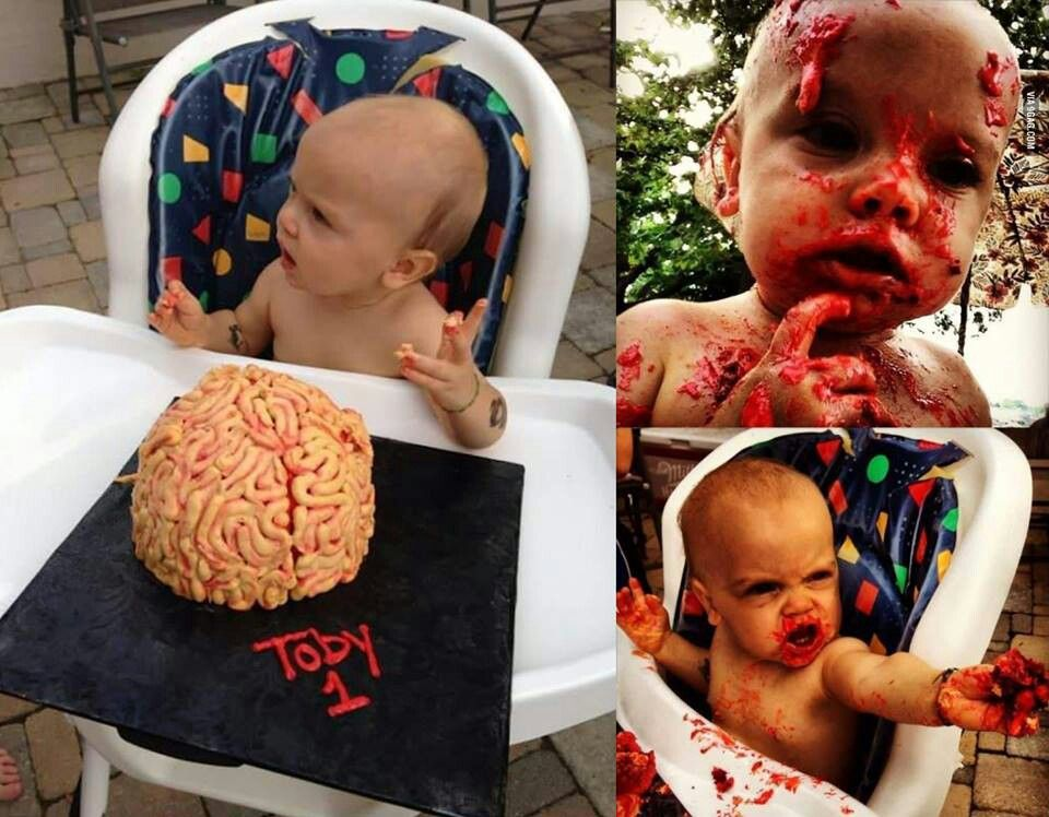 Babys 1st birthday zombie cake Awesome Geektastic Pinterest