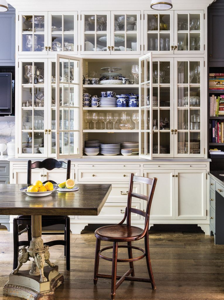 In The Kitchen A Cabinet Painted Benjamin Moore Chatsworth Cream Houses Mix Of English Stoneware Dishes And Johnson Brothers Blue White China