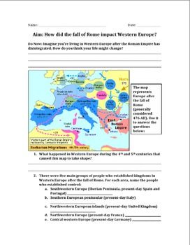 impact of fall of rome and beginning of dark ages worksheet dark ages worksheets and rome. Black Bedroom Furniture Sets. Home Design Ideas