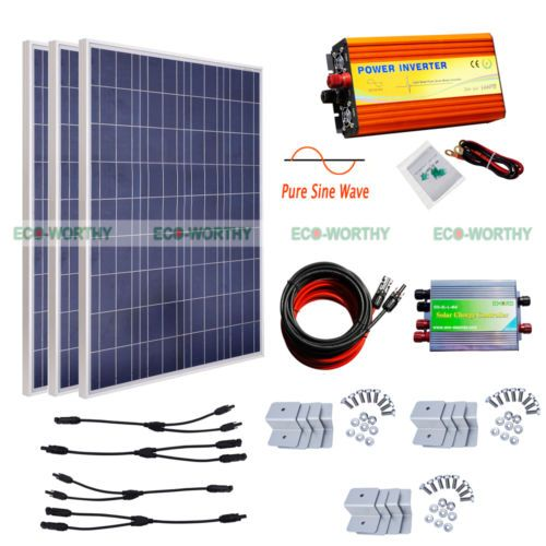 Eco 300w 3100w Solar Panel Kit 1kw 12v Pure Sine Wave Inverter Off Grid System 12v Solar Panel Solar Panel Kits Solar Panels