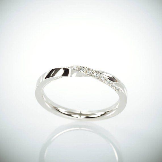 14k White Gold Mubius Ring Set With Diamonds Diamonds Mobius