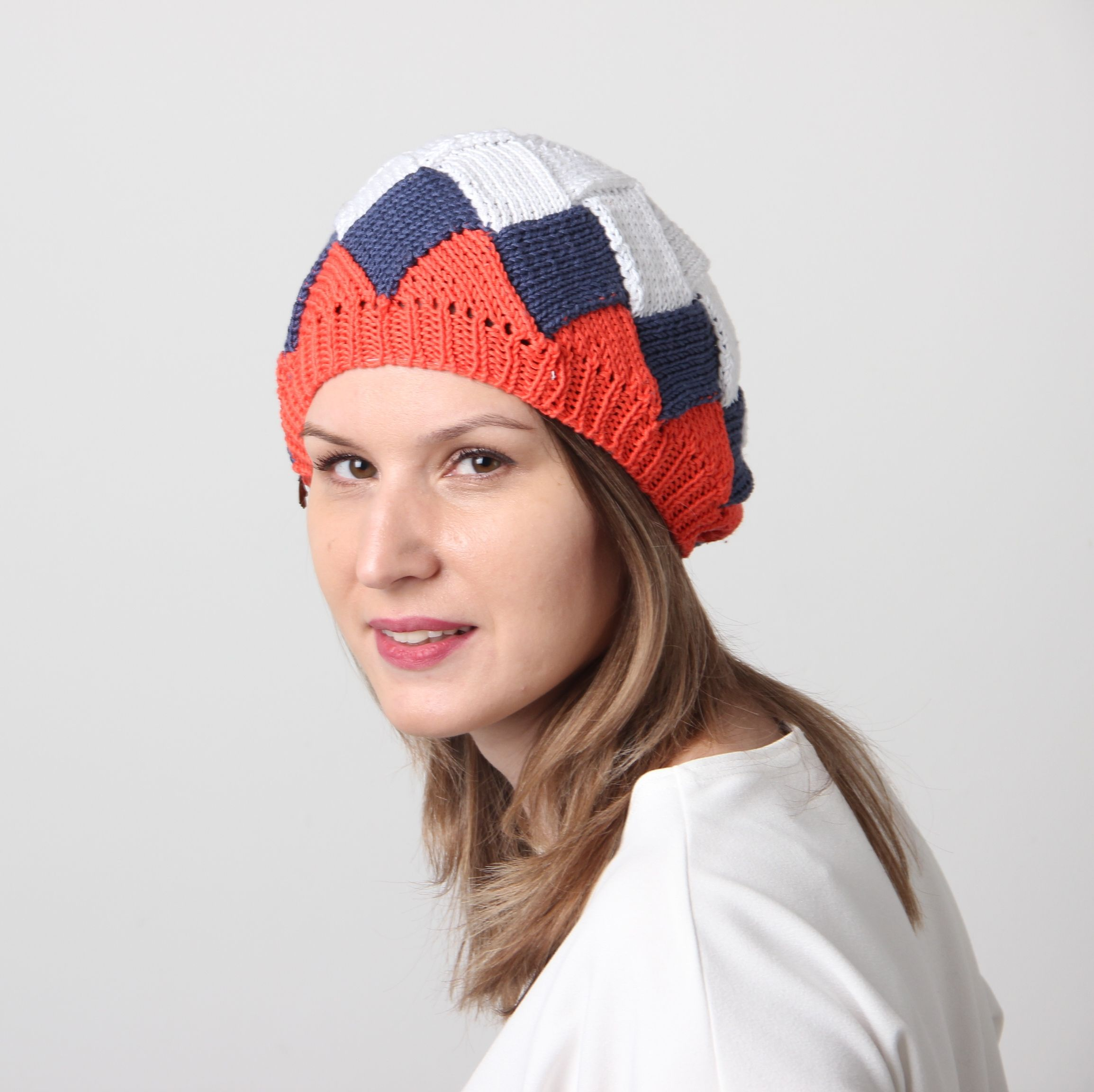 3c9db2d2bb123  knitberet  Altoknits Entrelac knitted Red-White-Blue beret. Thick and soft  handknit beret Great not only for Summer. Elastic thread sewn in the bottom  ...