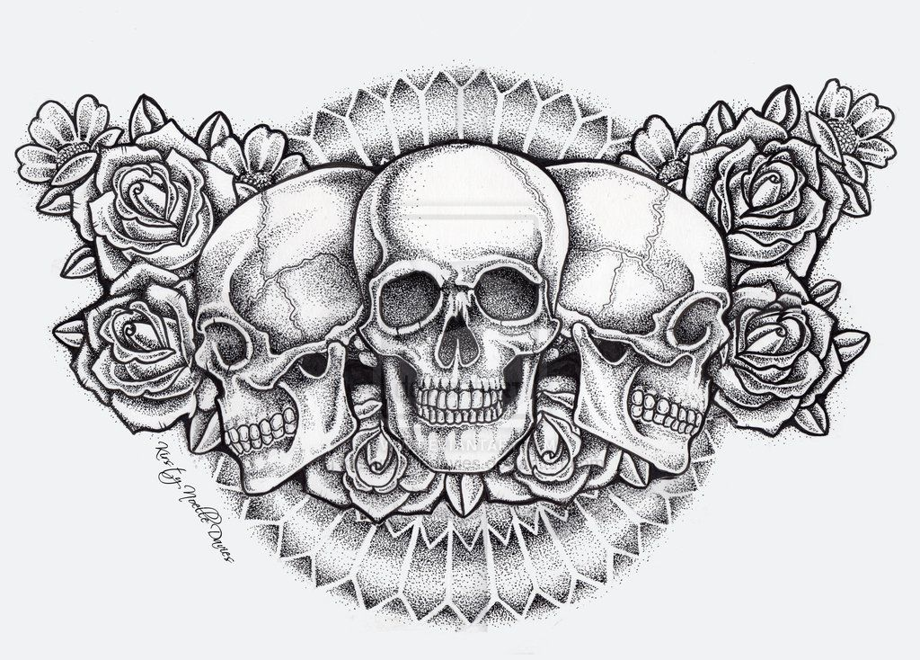 Dot Skull And Roses Chest Piece Tattoo (finished) By