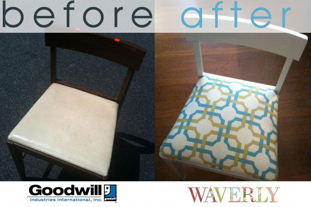 Danielle Hatfieldu0027s Before And After DIY Goodwill / Waverly Chair. $17.00  For All The Materials