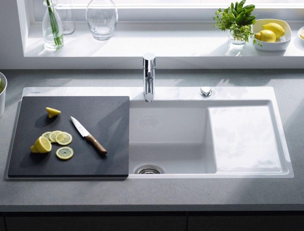 lavello cucina da incasso in ceramica con tagliere