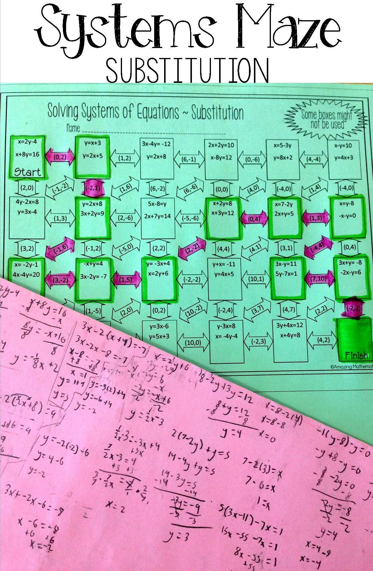 This Systems of Equations by Substitution maze worksheet would be perfect  for my Algebra 1 students. I love ho…   Systems of equations [ 1950 x 1275 Pixel ]