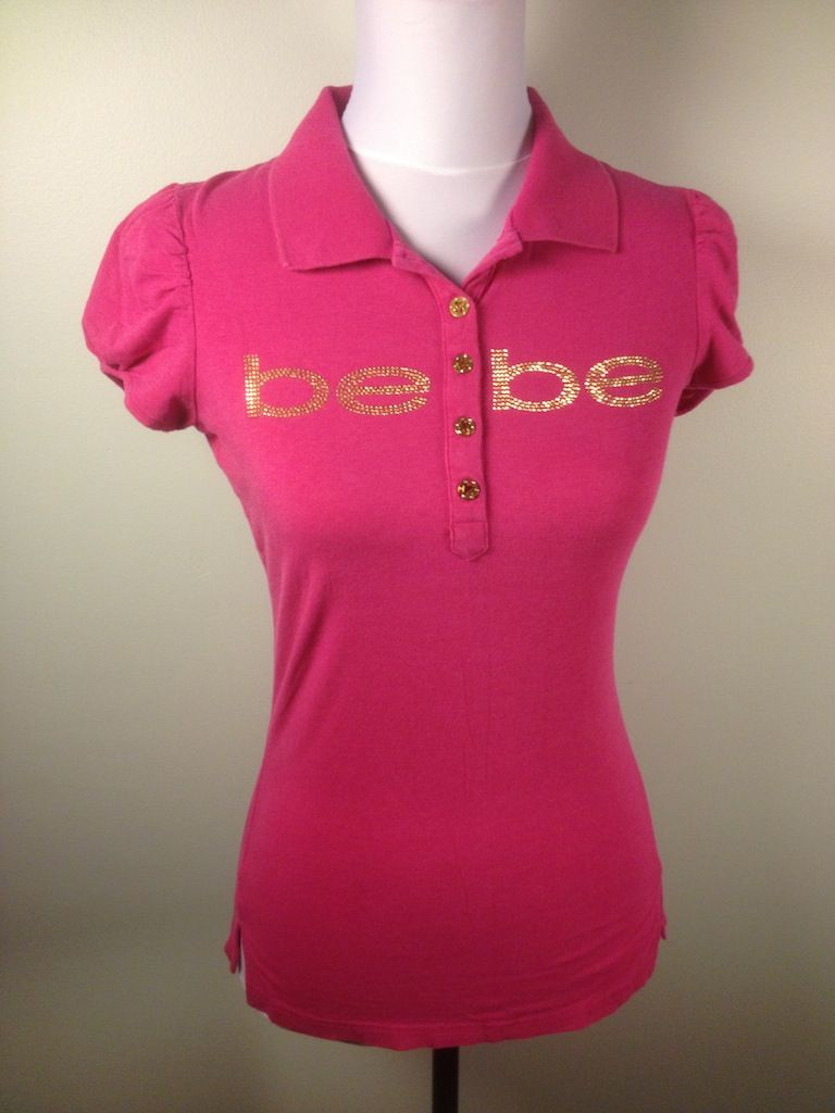 2B @bebe_stores Pink Polo Shirt Sz M Sequin Logo Ruched Short Sleeve Designer Knit Top #bebe #dodiesdoodads #fashiondeals