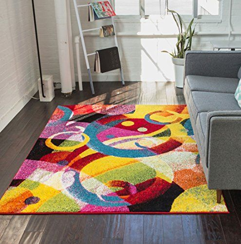 Well Woven Modern Circles Stain Resistant Antimicrobial Abstract Shapes Mid Century Multi Area Rug X