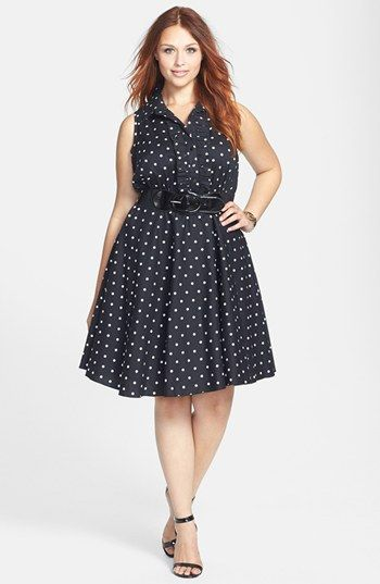 ccfc7b789fd City Chic Polka Dot Cotton Sateen Fit   Flare Dress (Plus Size) available  at  Nordstrom