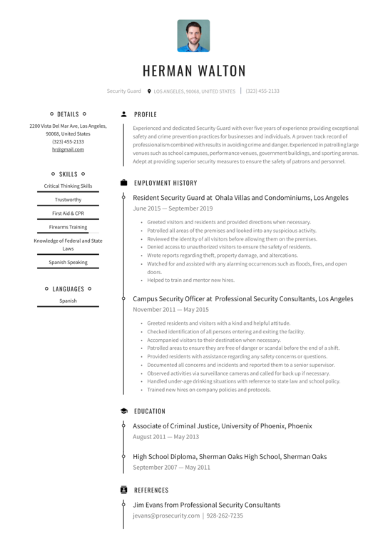 Security Guard Resume Examples Writing Tips 2020 Free Guide Resume Io In 2021 Job Resume Samples Resume Examples Job Resume Examples