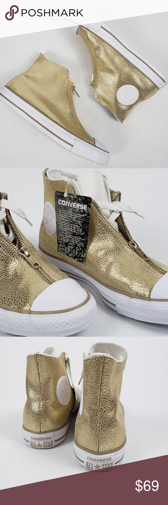 af7a20d67752 Converse All Star Classic Shroud Hi-top NEW!!!! Brand New!!! Converse All  Star High Tops Size 8 Shell- gold metallic leather with zip closure Hidden  ...