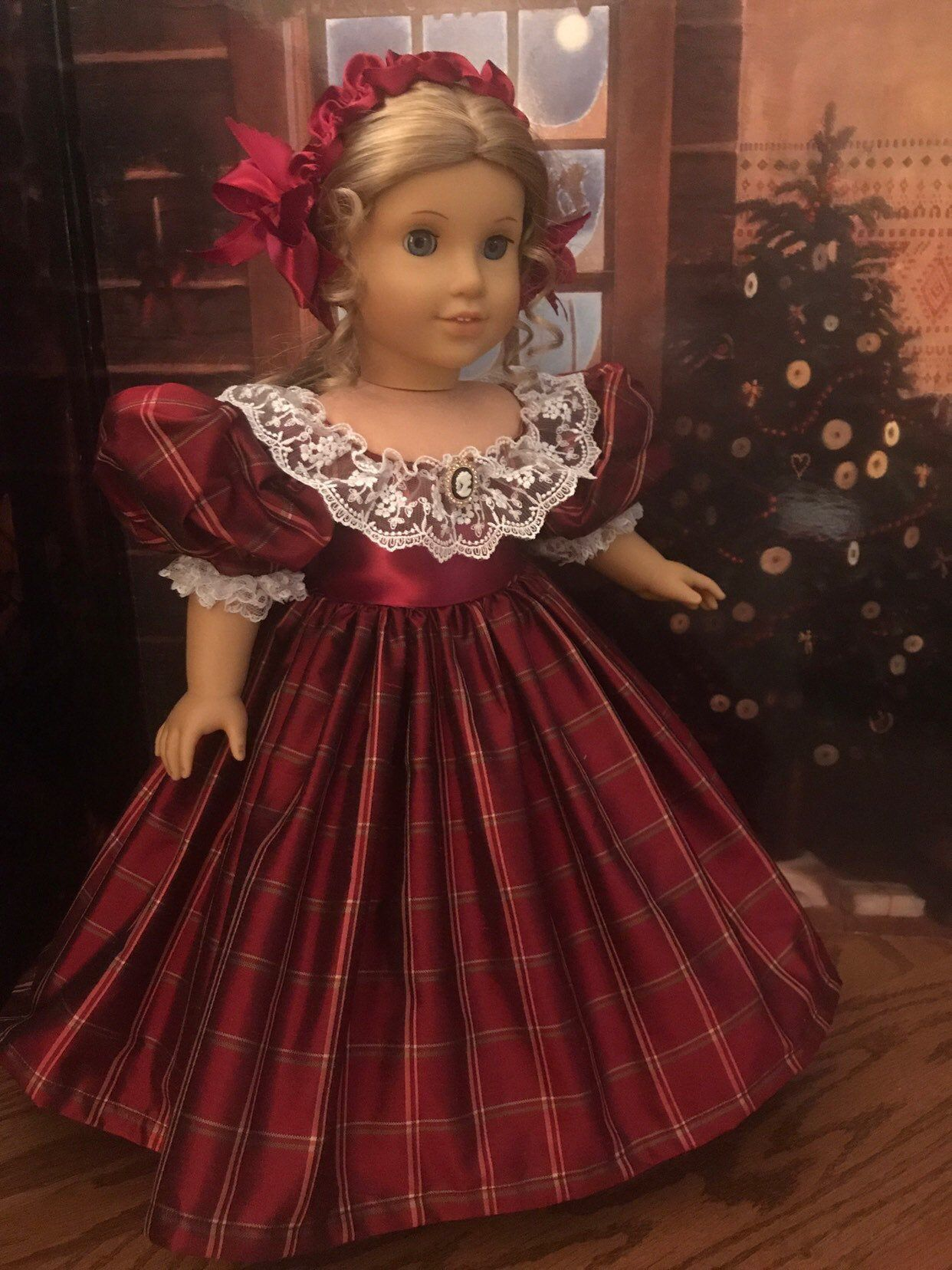 Victorian Christmas Gown for 18 inch American Girl Dolls #victoriandolls