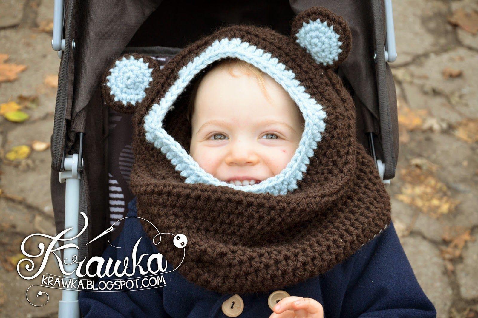 Krawka: Little bear - hooded cowl free crochet pattern. Brown bear ...