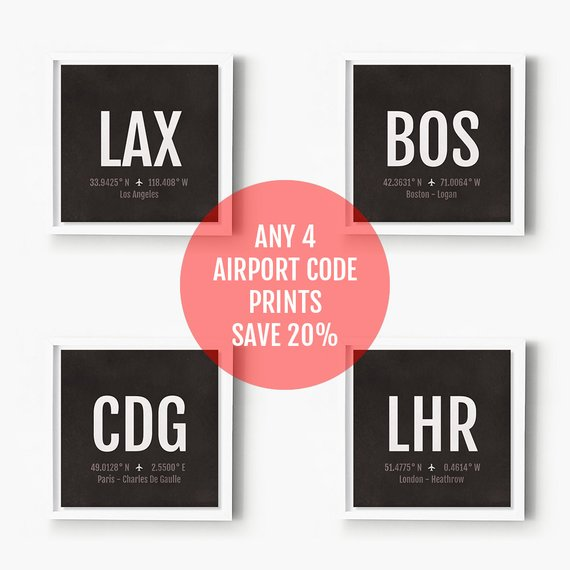 Airport Code Prints 4 Pack Save 20 Aviation Art Choose Etsy In 2020 Airplane Nursery Nursery Poster Aviation Decor