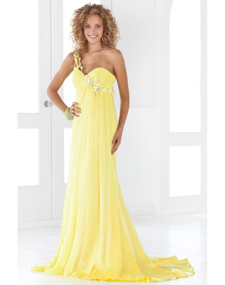 Appliques one shoulder chiffon aline formal dress beauty