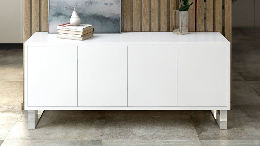 Neve Sideboard In White High Gloss Lacquer With Polished Stainless Steel Legs Zuri Furniture Modern White Sideboard Furniture White Sideboard