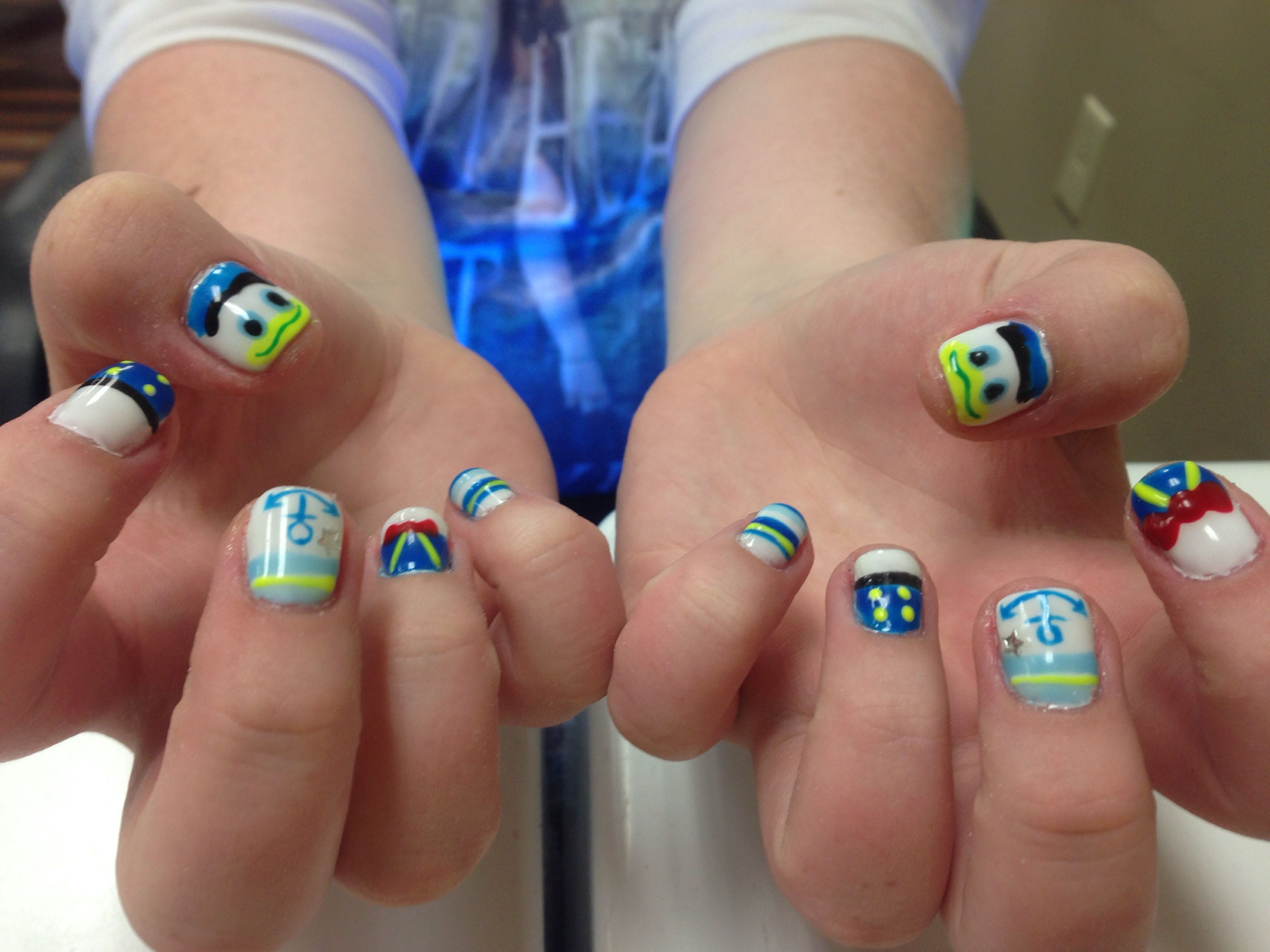 Donald Duck nails | Nail Designs | Pinterest