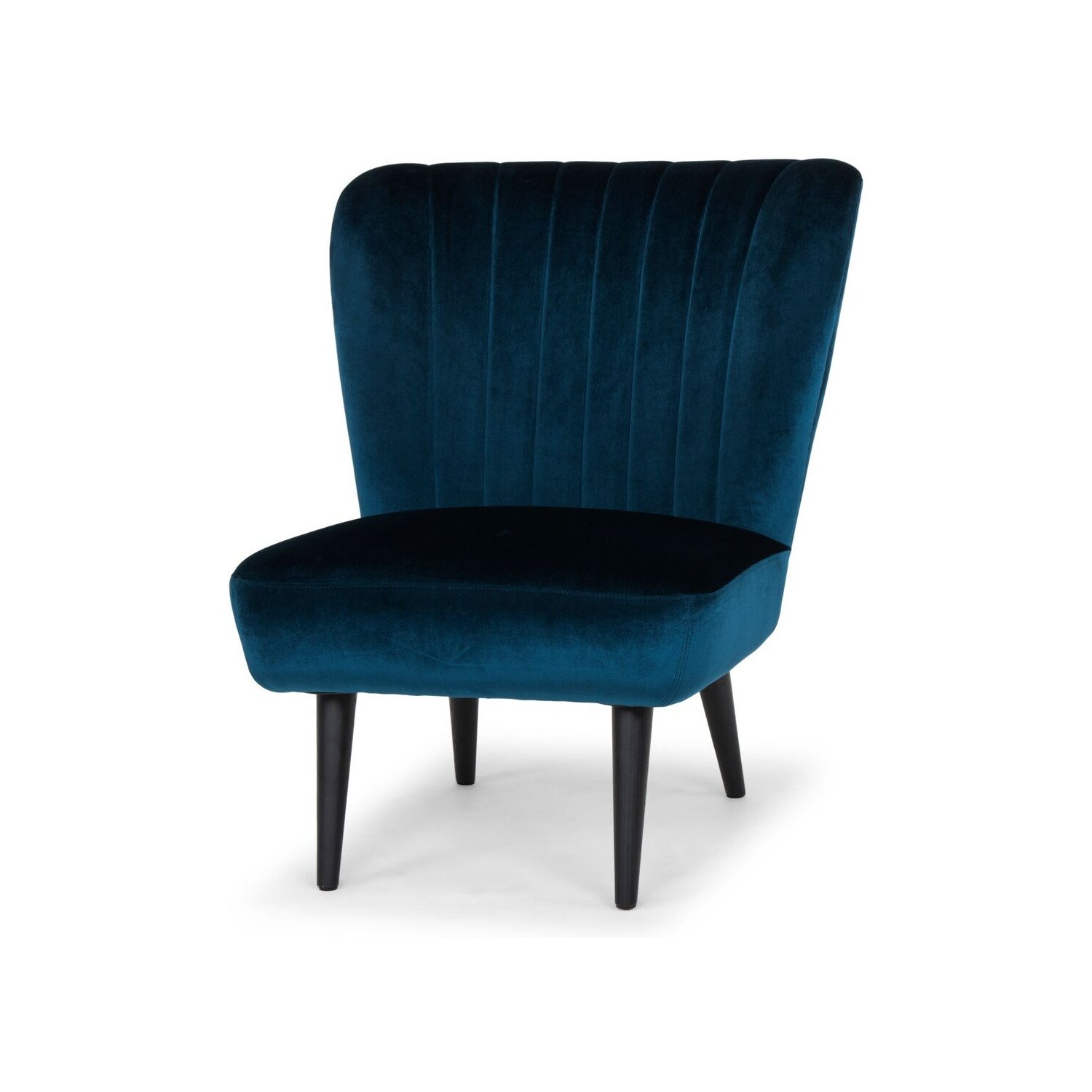 Alicia Accent Chair In Channel Tufted Midnight Blue Fabricon Black
