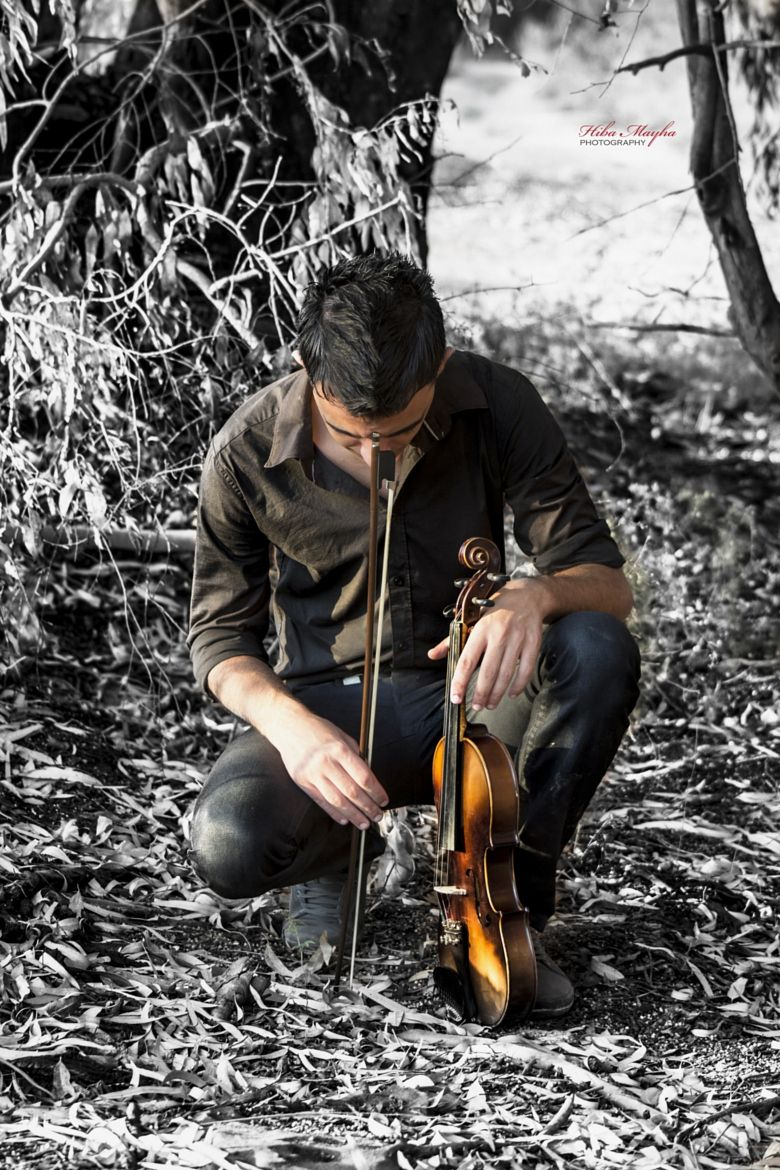 Tree by old house Color splash, Violinist, Photo
