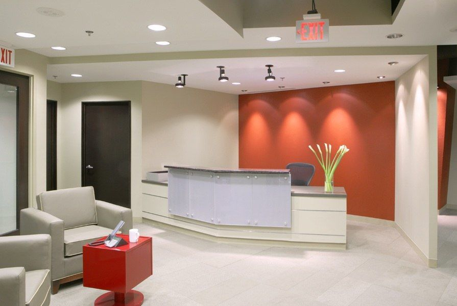 Inspiration office interior designs with color block theme red wall espresso or gunmetal - Office interior design ...
