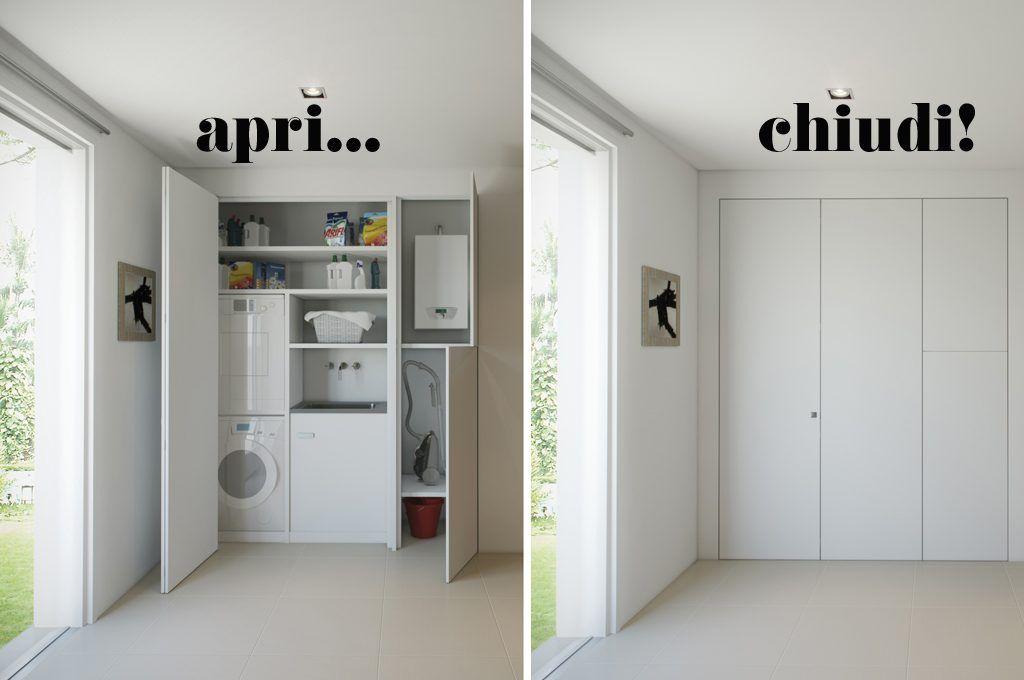 Chiudi un\'anta e la lavanderia sparisce. Apri un armadio e compare ...