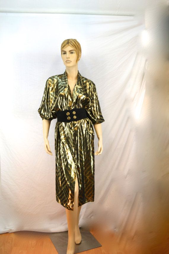 Vtg 80s Gold Dress Oversized Shirt Long By Thrifthound2000 18 00