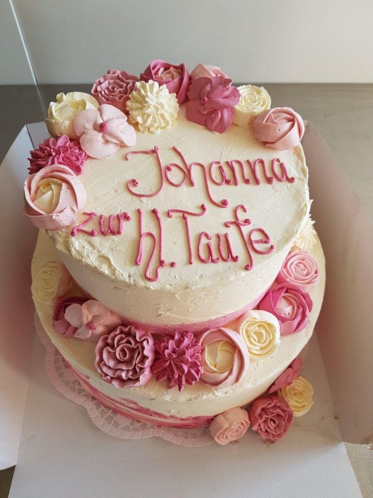 Tauftorte Madchen Ohne Fondant Buttercremeblumen Rosa Christening Cake Girl Buttercreamflowers Taufe Kuchen Madchen Taufe Kuchen Torte Taufe