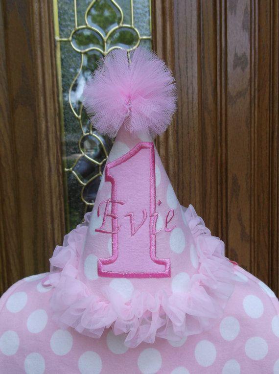 polka dot birthday hat Girl first Birthday hat girl/'s first birthday pink and purple first birthday hat